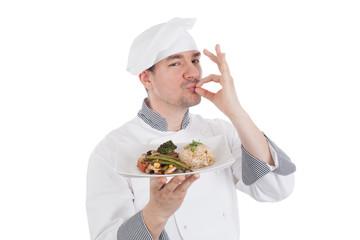 Chef making OK gesture after tasteful food