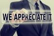We Appreciate It feedback icon on a virtual screen