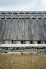 Front view of a grey dam