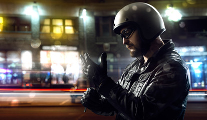Biker in night city