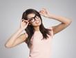 Beautiful woman wearing fashionable glasses
