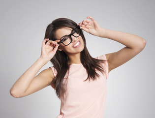 Beautiful woman wearing fashionable glasses