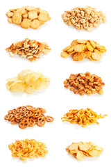 Snacks variety on white background