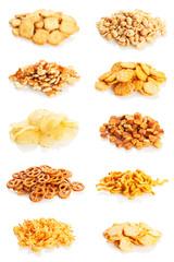 Snacks variety on white background