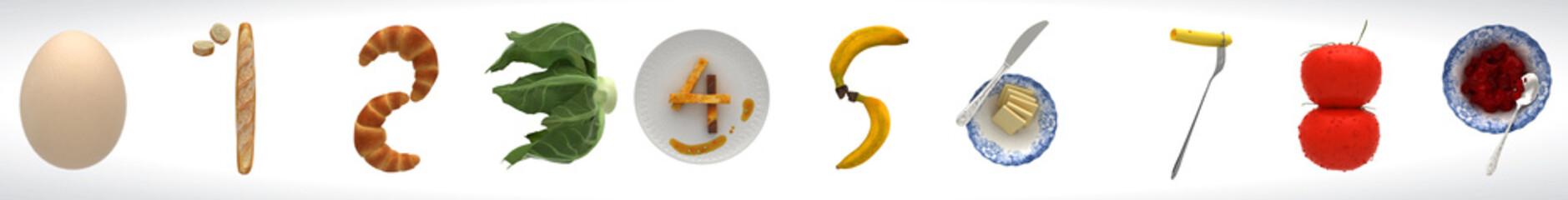Sequenza numerata astratta, artistico, 0-9,alimentari, cibo