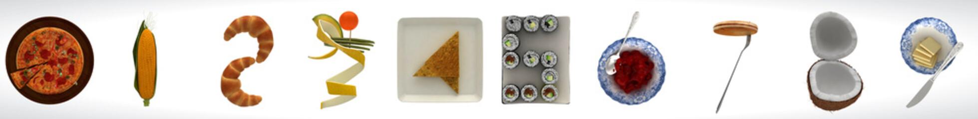 Sequenza numerata astratta, artistico, 0-9, alimentari, cibo