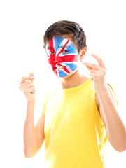 boy with uk flag painted on his face