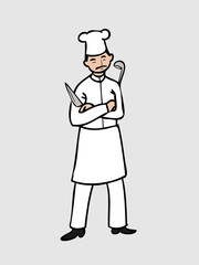 Chef with knife and dipper