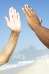 Brazilian Diversity Interracial High Five Hands Rio Brazil