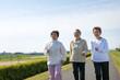 道路を歩く日本人高齢者の3人組