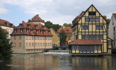 Houses on the river Regnitz, Bamberg, Germany