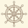Detailed brown outlines nautical rudder