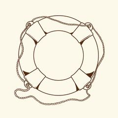 Detailed brown outlines nautical life buoy