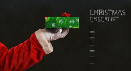Santa hand and present
