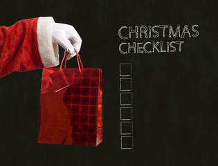 Father Christmas present and christmas checklist