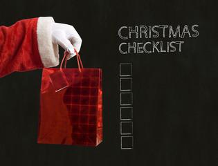 Father Christmas present and christmas checklist