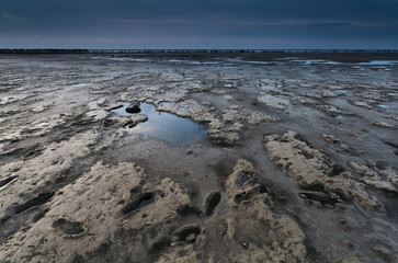 mud on coast during low tide in Nirth sea