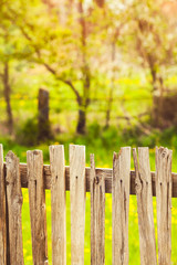 Close up of wood fence in village