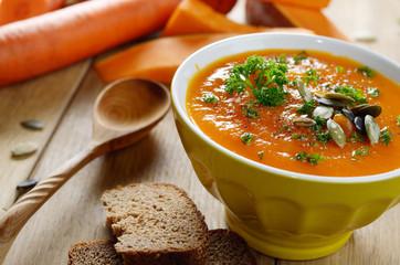 Homemade rustic pumpkin soup