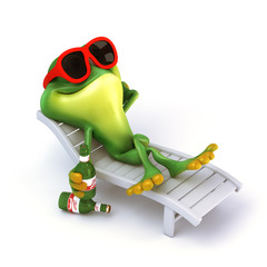 Frog relax with beer