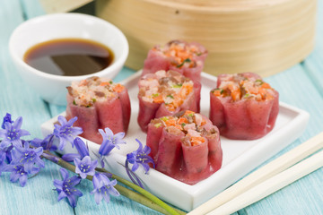 Shumai - Chinese pork and shrimp beetroot steamed dumplings