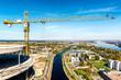 Tower crane in construction site. Riga city, Latvia