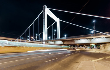 Night view of Elisabeth Bridge (Erzsebet hid).Budapest, Hungary