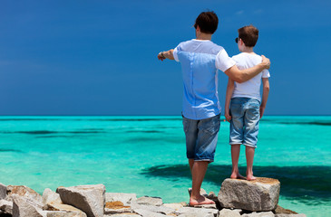 Father and son on vacation