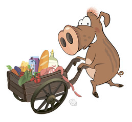 Wild boar and the cart with products