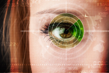 Cyber woman with modern military target eye