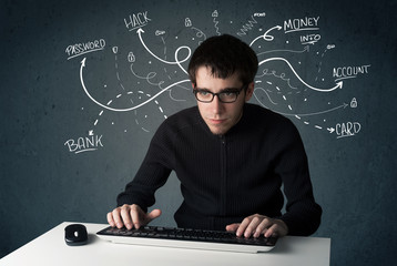 Young hacker with white drawn line thoughts