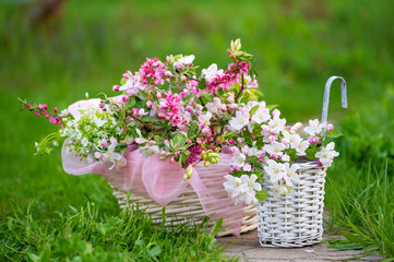 Wicker basket full of blooming spring flowers on the grass