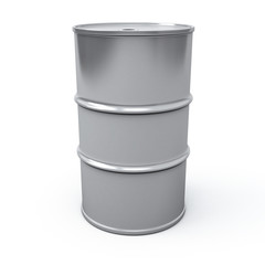 Metallic oil barrel, 3d