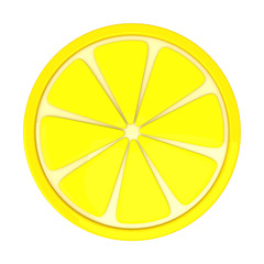 Lemon fruit slice, 3d