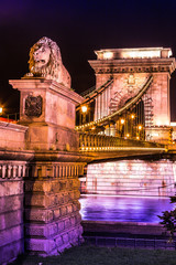 City of Budapest in Hungary night urban scenery, street on the S
