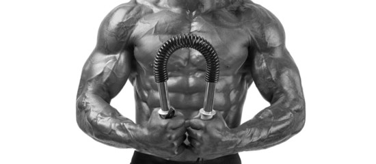Bodybuilder training with a bendy bar, perfect body