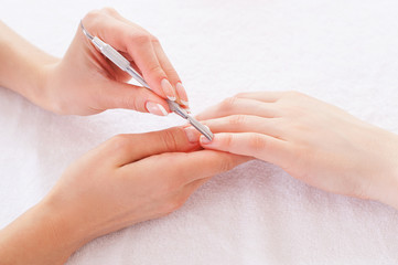 Preparing for manicure.