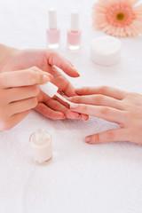 Making manicure.