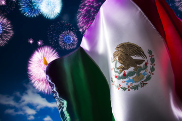 Mexican flag with fireworks, independence day, cinco de mayo cel
