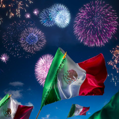 Mexican flags with fireworks, independence day, cinco de mayo ce