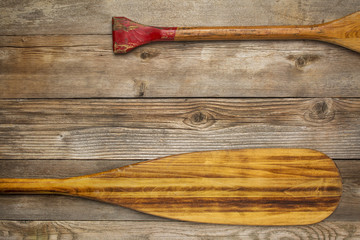 blade and grip of canoe paddle