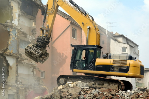canvas print picture Häuserfront wird abgerissen