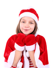 Beautiful little girl in Christmas costume, isolated on white