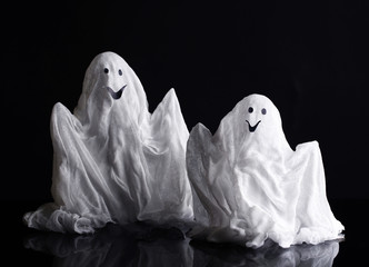 Halloween ghosts, isolated on  black