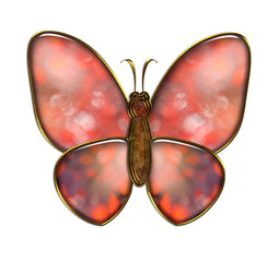 Red butterfly on white background