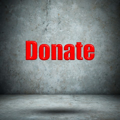 Donate on concrete wall