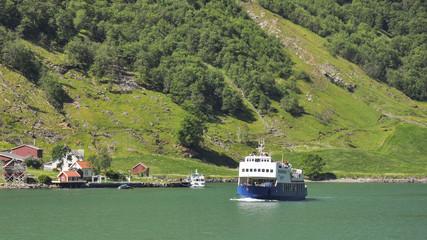 Naeroyfjord, Dorf, Autofähre, Sommerreise, Norwegen