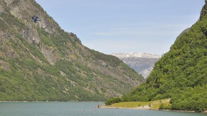 Naeroyfjord, Laerdal, Dorf, Kajakfahrt, Sommer, Norwegen