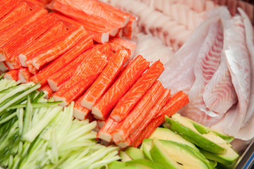 surimi, fish avocado for sushi