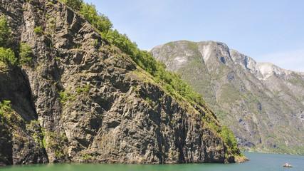 Naeroyfjord, Laerdal, Fjord, Fähre, Sommer,  Norwegen